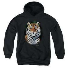 Wildlife Jungle Fire Big Boys Youth Pullover Hoodie BLACK