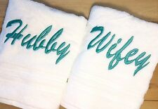 WIFEY & HUBBY Towel Set~Embroidered his and hers Couples Set~ Hand & Bath Towels