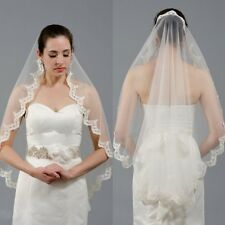 Fingertip Bridal Veils Lace Applique Wedding Veils +Comb White Ivory New 2017