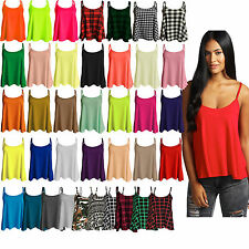 Ladies Camisole Cami Plain Strappy Swing Vest Top Flared Sleeveless US Size 4-22