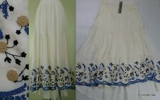 NWT HAZEL Anthropologie Size L Embroidered Tiered Hi-Low Maxi BOHO Peasant Skirt