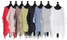 New Ladies Italian Linen Frilled Top Women Tunic Summer Top Plus Sizes