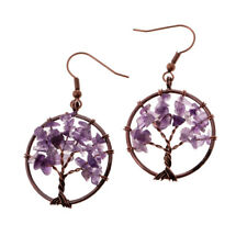 Chakra Tree Of Life Earrings Natural Crystal and Bronze Dangle Earrings