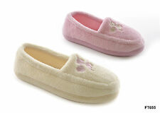 Ladies Terry Fleece Embroidered Slippers