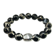 Simon Sebbag Faceted Black Tortoise Agate Stretch Bracelet