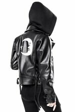 Killstar Occult Gothic Goth Luna Vega Hooded Biker Jacket Vegan Leather