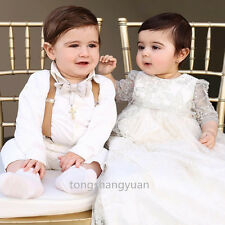 New Boy Girls Twins Christening Baptism Suit Gown Outfits (New Born -24M) Custom