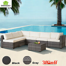 Diensday Patio Set 7pc Wicker Furniture Outdoor Rattan Sofa Sectional Cushioned