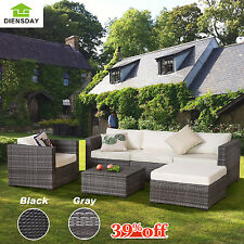Diensday 6PC Patio Furniture Set Outdoor Wicker Rattan Sofa Sectional Couch PE