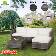 Diensday 5pc Outdoor Furniture Set Patio Wicker Sofa Garden Sectional Couch Deck