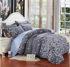 Gray Flowers Bed Pillowcase Duvet Cover Quilt Cover Set Twin Queen King Size