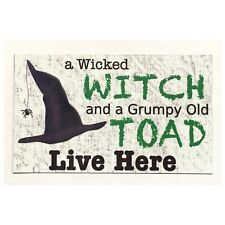 Wicked Witch Grumpy Old Toad Live Here Pagan Halloween Sign Plaque or Hanging