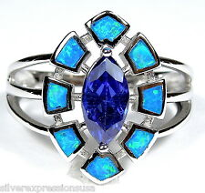 0.76 ct  Blue Fire Opal Inlay 925 Sterling Silver & Tanzanite Ring size 7.5 - 9