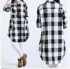 New Womens Casual Linen Plaid Long Sleeve Tops Blouse T-shirt Tunic M-3XL Chic88