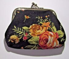 TAPESTRY FLORAL PATTERN TEXTILE VINTAGE STYLE SMALL COIN PURSE VARIOUS COLOURS