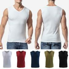 Summer Men's Tank Top 100% Cotton A-Shirt Wife Beater Ribbed Undershirt