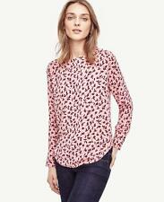 NWT Ann Taylor Leafy Perforated Boatneck Top Blouse  $69.50 Pink  NEW