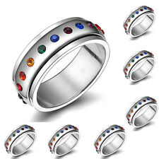 Gay Pride Stainless Steel Rainbow gem wedding promise ring band sizes 5-10