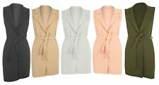 New Womens Sleeveless Belted Crepe Open Long Waistcoat Top Ladies Jacket 8-26