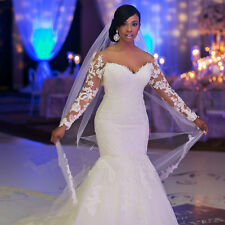 Mermaid Wedding Dresses Lace Applique White Ivory Bridal Gowns Custom Train 2017