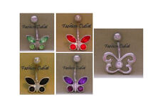 CZ BUTTERFLY-DRAGONFLY Belly Button Ring Navel Barbell 14G 3/8 BUY 2/GET 1 FREE