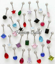 7mm CZ DIAMONTE Belly Button Ring Navel Dangle Barbell 14G 3/8 BUY2/Get 1 FREE