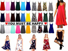 Womens Long Cami Plain Strappy Swing Vest Top Flared Sleeveless Ladies Dress cmL