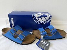 New Birkenstock Arizona Soft Footbed Sandals Blue Nubuck Size 37 38
