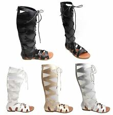 LADIES WOMENS CUT OUT GLADIATOR SANDALS FLAT KNEE BOOTS STRAPPY UK SIZE 3-8