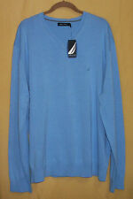 Nautica mens V neck medallion blue ls pullover sweater stretch knit cotton XL
