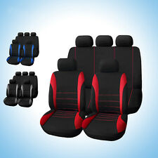Universal 5 Seats Car Seat Covers 9pc Set for Auto Front/Back Seat Head Rest