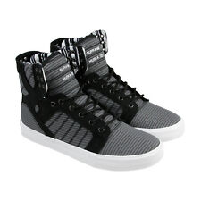 Supra Skytop Mens Black Gray Canvas High Top Lace Up Trainers Shoes