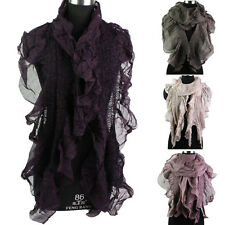 New Stylish Women's Wrinkle Design Flexible Ruffle Trim Shawl Long Scarf Shawl