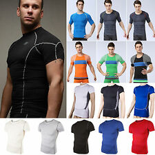 Men Compression Base Layer Shirt Top Short Sleeve Sports Fitness Tights T-shirts
