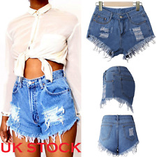 Vintage Ripped Womens High Waisted Stonewash Denim Shorts Jeans Ladies Hot Pants