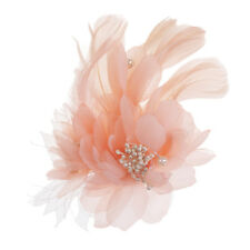 Charm Feather Fabric Flower Brooch Pin And Alligator Clip For Wedding Party