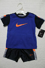 NEW BOYS NIKE 2 PIECE SET SHIRT AND SHORTS OUTFIT $40 NAVY BLUE ORANGE GRAY