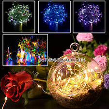 20/40LED Battery Operated Silver Wire String Fairy Light Xmas Flower Tree Garden
