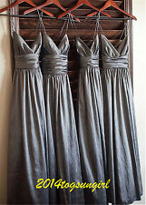 Spaghetti Straps Satin Long Bridesmaid Ball Gown Party Formal Evening Prom Dress