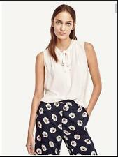 NWT Ann Taylor Sleeveless Pleated Tie Neck Shell   $69.50  Winter White  NEW