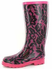 SALE Spot On X1103 Ladies Fuchsia Rose/Lace Effect Patterned Pull on Wellies
