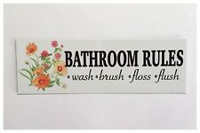 Bathroom Rules Tin/Plastic Wall Plaque Country Floral Kids Retro Vintage