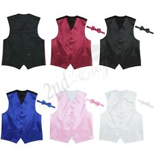 36-48 Men Formal Casual Tuxedo Suit Dress Vest Waistcoat & Neck tie Wedding Prom