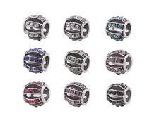 10PCS Mixed Colors Rhinestone Charm Beads Fit European Bracelet #91863