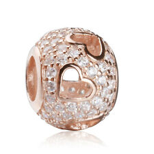New authentic 925 sterling silver Charms Beads Heart Rose Gold Pave CZ Bead