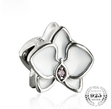 authentic 925 Sterling Silver White Enamel Charm Beads Flowers Charms Bead