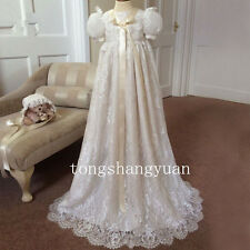 Royal Lace Baby Robe Baptism Outfits Dresses Infant Christening Gown With Bonnet