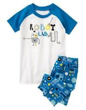 GYMBOREE BOYS ROBOT LAB BLUE SHORTS GYMMIES PAJAMAS 4 5 6 NWT