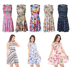 New Women Ladies Floral Printed Party Sleeveless Flower Summer Skater Dress 8-26