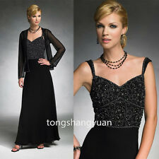 2 Pieces Chiffon Mother Of The Bride Dresses Crystals Evening Formal Gowns 2017